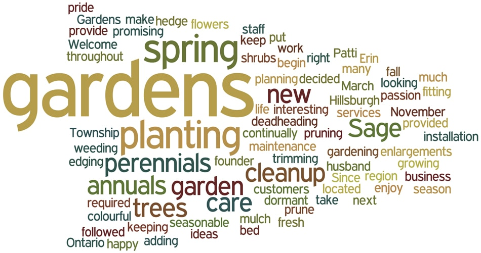 Patti Sage, Sage Gardens, Garden maintenance, hedge trimming, planning gardens, planting annuals, planting perennials, garden enlargements, installation of new gardens, seasonable pruning, spring fall cleanup, Wellington County, Ontario
